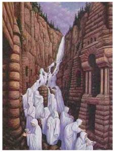 gambar sekumpulan orang yang jika di lihat sejenak seperti air terjun