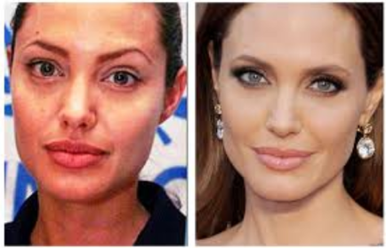 Angelina Jolie Before face and Afer Beauty Editor