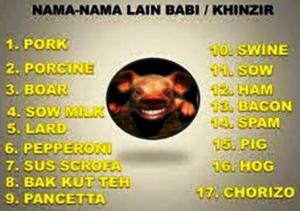 Nama-nama Lain Daging Babi dalam Makanan
