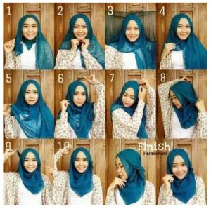 cara tutorial memakai jilbab segi empat yang simple dan moderen